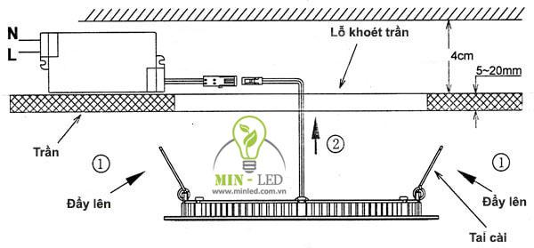 Cách tháo và lắp đèn led âm trần 3 màu
