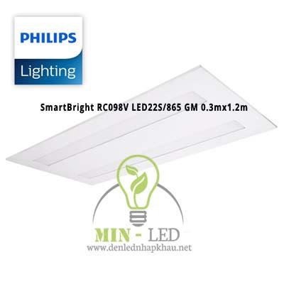 Đèn led âm trần Philips SmartBright RC098V LED22S/865 GM 0.3mx1.2m
