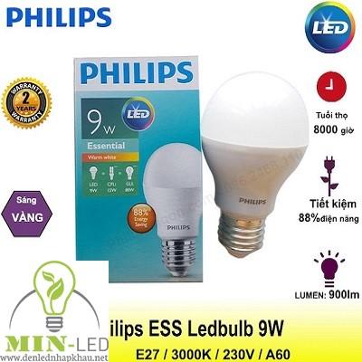 Đèn led Bulb Philips Essential 9W-80W A60