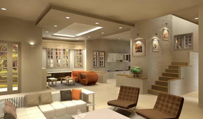 Không gian phòng khách sử dụng đèn LED âm trần 12W Philips D125 59522