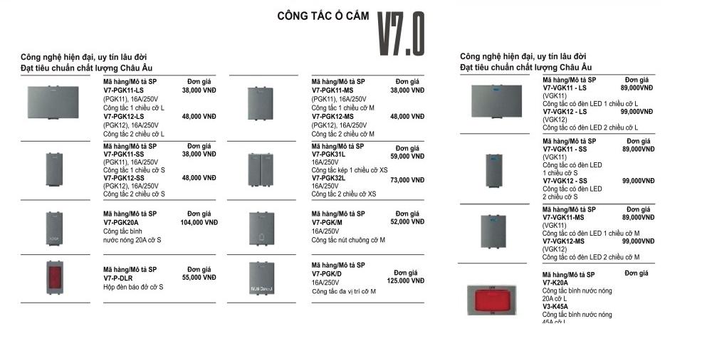 Báo giá công tắc Uten Series V7.0