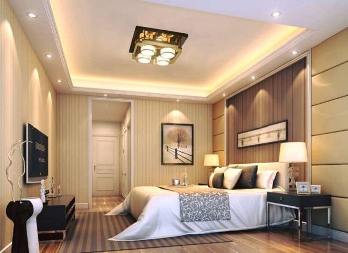 Không gian phòng ngủ ứng dụng mẫu đèn LED âm trần mini của Kingled