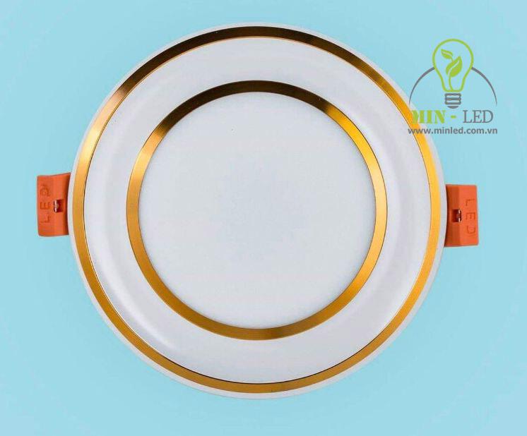 Đèn LED âm trần lỗ 90mm đế đúc viền vàng tiết kiệm điện tối đa2