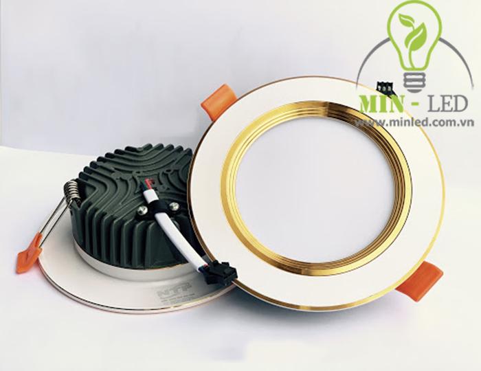 Đèn Led âm trần lỗ 90mm đế đúc viền vàng tiết kiệm điện tối đa1