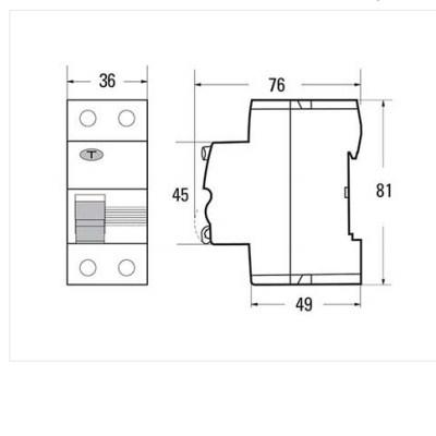Kích thước Aptomat chống giật Sino 63A