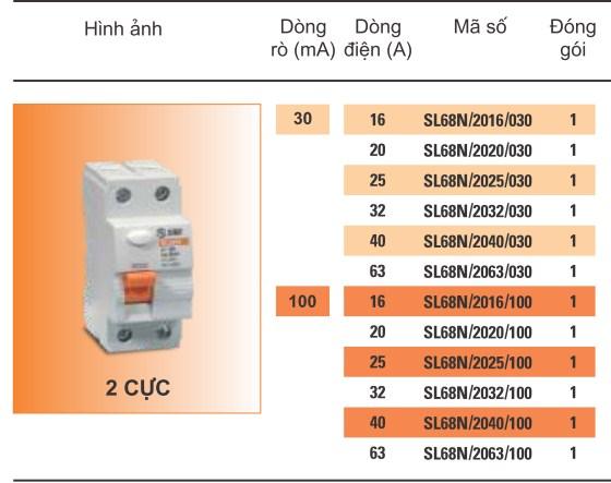 Aptomat chống giật RCCB Sino SL68N 63A 30mA
