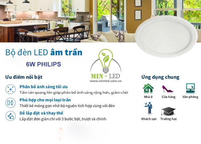 Đèn LED âm trần 6w Philips sở hữu nhiều ưu điểm