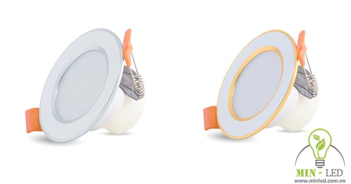 Mẫu đèn LED âm trần đổi màu 3W Rạng Đông viền vàng/bạc