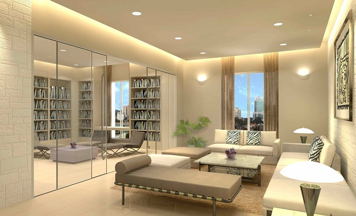 Sự kết hợp hoàn hảo giữa nội thất tông màu sáng với mẫu đèn LED âm trần đổi màu Rạng Đông