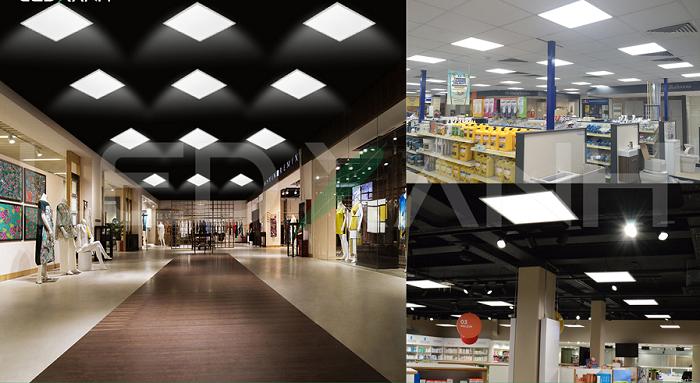 Đèn LED âm trần 600x600 Rạng Đông trong trung tâm mua sắm