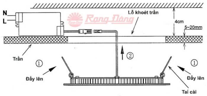 Cách lắp đặt đèn LED downlight nguồn rời