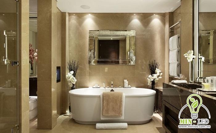 Màu ánh sáng trung tính sẽ là lựa chọn tốt nhất cho không gian phòng tắm