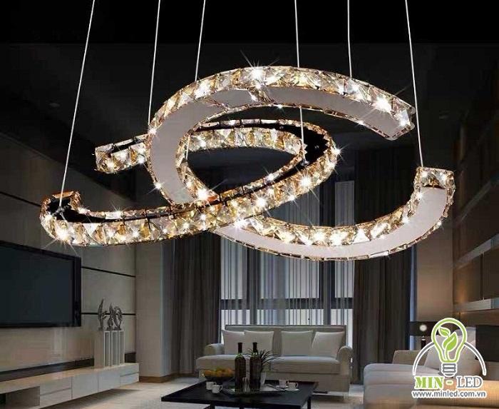 Cực sang trọng với mẫu đèn LED trang trí thả Chanel HTPL-34 pha lê