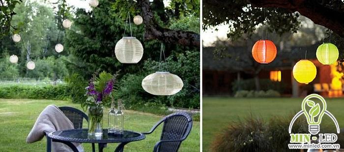 Đèn thả treo đem đến vẻ đẹp lãng mạn và sinh động hơn cho không gian sân vườn