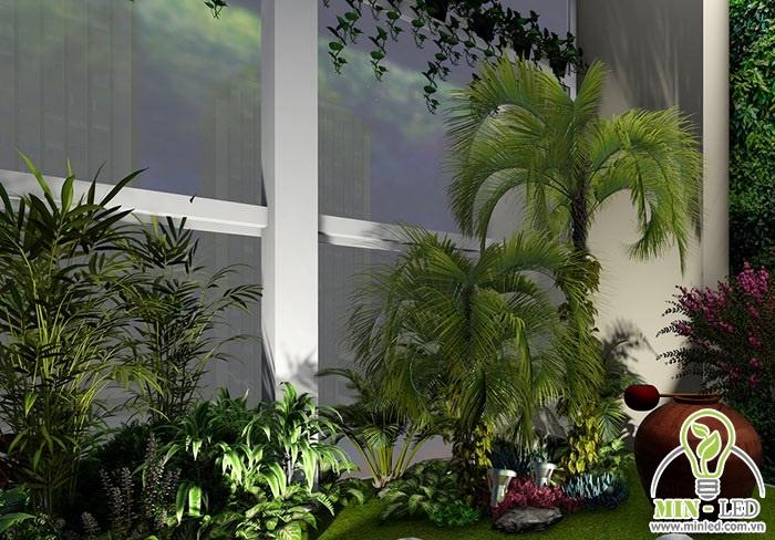 Trang trí tiểu cảnh sân vườn bằng các loại đèn nhỏ, ánh sáng công suất thấp