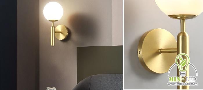 Đèn ốp tường HTOT-28 cũng có dạng hình cầu đơn giản với phần chân cách điệu bên dưới.